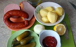 Ингредиенты для солянки с колбасой