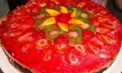 Ягодно-фруктовый торт с творогом